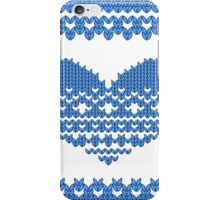 Blue Knitted Look Love Heart iPhone Case/Skin