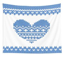 Blue Knitted Look Love Heart Wall Tapestry