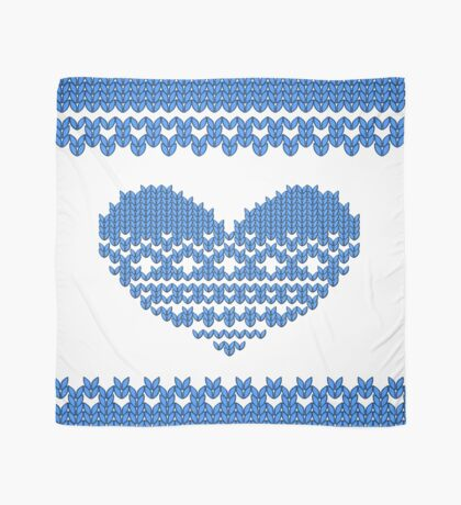Blue Knitted Look Love Heart Scarf