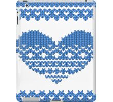 Blue Knitted Look Love Heart iPad Case/Skin