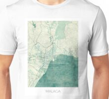 Malaga Map Blue Vintage Unisex T-Shirt