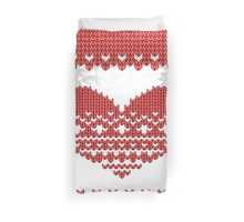 Red Knitted Look Love Heart  Duvet Cover