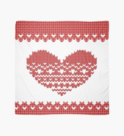 Red Knitted Look Love Heart  Scarf
