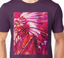 Indian Chief in pink and orange Unisex T-Shirt