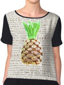 Psych Burton Guster Nicknames - Television Show Pineapple Room Decorative TV Pop Culture Humor Lime Neon Brown Chiffon Top