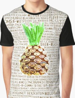 Psych Burton Guster Nicknames - Television Show Pineapple Room Decorative TV Pop Culture Humor Lime Neon Brown Graphic T-Shirt