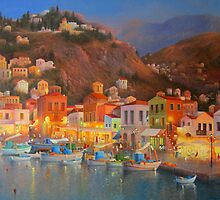 Harbour Lights Symi by Raymond Gilronan