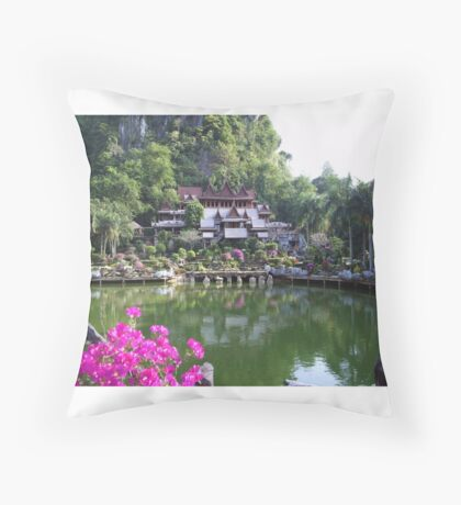 Buddhist monastery with water garden beneath cliffs Throw Pillow