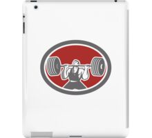 Weightlifter Lifting Barbell Front Oval Retro iPad Case/Skin
