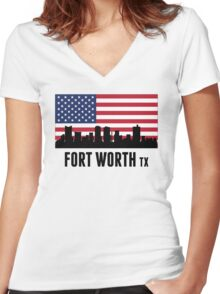 Fort Worth TX American Flag Women's Fitted V-Neck T-Shirt