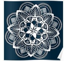 White mandala on dark blue background Poster