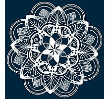 White mandala on dark blue background Photographic Print