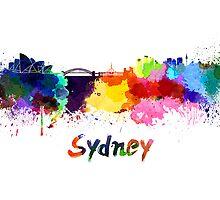 Sydney skyline in watercolor by paulrommer