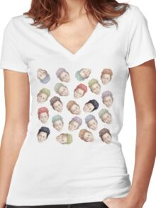 Colorful Tilda Heads Women's Fitted V-Neck T-Shirt