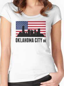 Oklahoma City OK American Flag Women's Fitted Scoop T-Shirt