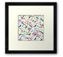 Retro 80's 90's Neon Pink Green Blue Yellow Doodle Framed Print