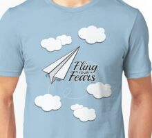 Fling Your Fears - Cast Anxiety - Paper Airplane - Clouds Unisex T-Shirt