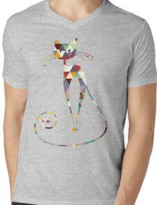 COLORFUL  CAT Mens V-Neck T-Shirt