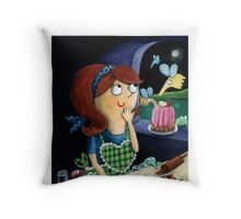 Little Girl's Kitchen and cute flying monsters Throw Pillow