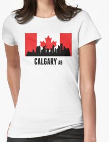 Calgary AB Canadian Flag Womens Fitted T-Shirt