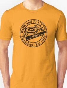 Wow & Flutter Turntables T-Shirt, Bags & Sticker - Worn Well T-Shirt