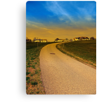A road, a village and a sunset | landscape photography Canvas Print