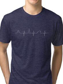 Mountains, guitar, wave love (white) Tri-blend T-Shirt