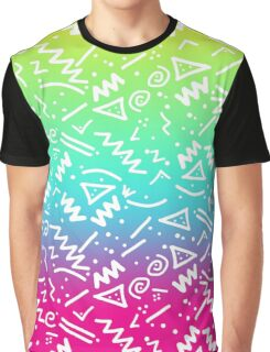 Retro 80's 90's Neon Rainbow Sketched Doodle Graphic T-Shirt