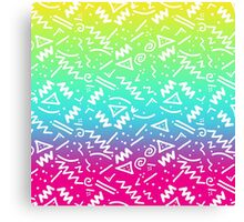 Retro 80's 90's Neon Rainbow Sketched Doodle Canvas Print