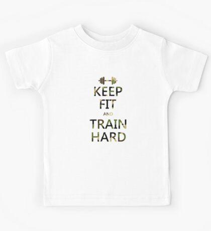 KEEP FIT and TRAIN HARD (camo) Kids Tee