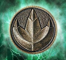 MMPR Green Ranger Power Coin Throw Pillow by Russ Jericho
