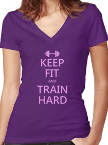 KEEP FIT and TRAIN HARD (pink) Women's Fitted V-Neck T-Shirt