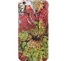 Flower Doodle in red & green iPhone Case/Skin