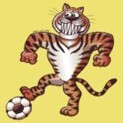 Tiger Stepping on a Soccer Ball and Preparing a Free Kick by Zoo-co