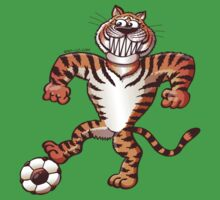 Tiger Stepping on a Soccer Ball and Preparing a Free Kick One Piece - Short Sleeve