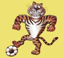 Tiger Stepping on a Soccer Ball and Preparing a Free Kick Kids Clothes
