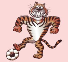 Tiger Stepping on a Soccer Ball and Preparing a Free Kick One Piece - Long Sleeve