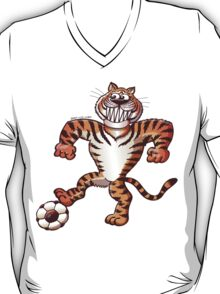 Tiger Stepping on a Soccer Ball and Preparing a Free Kick T-Shirt
