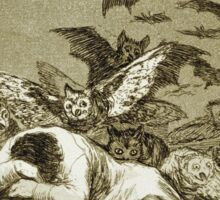 Francisco De Goya  - The Sleep Of Reason Produces Monsters. Bird painting: cute fowl, fly, wings, lucky, pets, wild life, animal, birds, little small, bird, nature Sticker