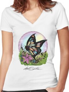 Butterfly Serenity Women's Fitted V-Neck T-Shirt