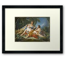 Francois Boucher - Les Confidences Pastorales. Woman portrait: sensual woman, girly art, female style, pretty women, femine, beautiful dress, cute, creativity, love, sexy lady, erotic pose Framed Print