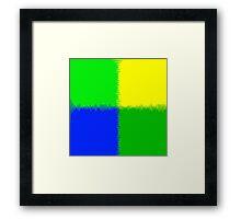 QUARTERS-1 (Blue, Greens & Yellow)-(9000 x 9000 px) Framed Print