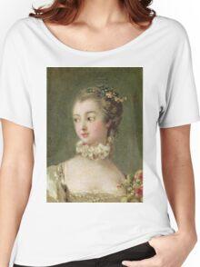 Francois Boucher - Madame De Pompadour (1721-64). Woman portrait: sensual woman, girly art, female style, pretty women, femine, beautiful dress, cute, creativity, love, sexy lady, erotic pose Women's Relaxed Fit T-Shirt