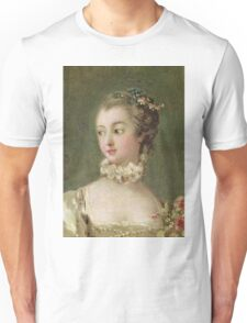 Francois Boucher - Madame De Pompadour (1721-64). Woman portrait: sensual woman, girly art, female style, pretty women, femine, beautiful dress, cute, creativity, love, sexy lady, erotic pose Unisex T-Shirt