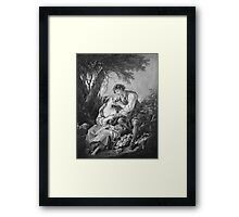 Francois Boucher - Pastoral Scene. Lovers portrait: sensual woman, woman and man, kiss, kissing lovers, love relations, lovely couple, family, valentine's day, sexy, romance, female and male Framed Print