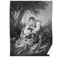 Francois Boucher - Pastoral Scene. Lovers portrait: sensual woman, woman and man, kiss, kissing lovers, love relations, lovely couple, family, valentine's day, sexy, romance, female and male Poster