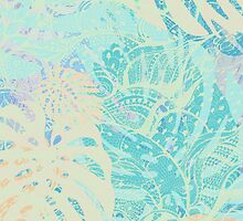 Hand drawn watercolor pattern with  monstera leaves by Sviatlana Kandybovich