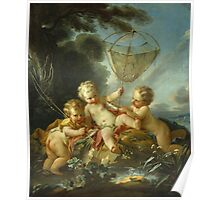 Francois Boucher - Putti As Fisherman. Child portrait: cute baby, kid, children, pretty angel, child, kids, lovely family, boys and girls, boy and girl, mom mum mammy mam, childhood Poster