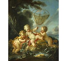 Francois Boucher - Putti As Fisherman. Child portrait: cute baby, kid, children, pretty angel, child, kids, lovely family, boys and girls, boy and girl, mom mum mammy mam, childhood Photographic Print