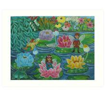 Fairies on waterlillies. Art Print